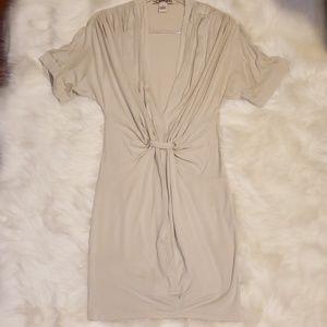 Beige V Neck Dress
